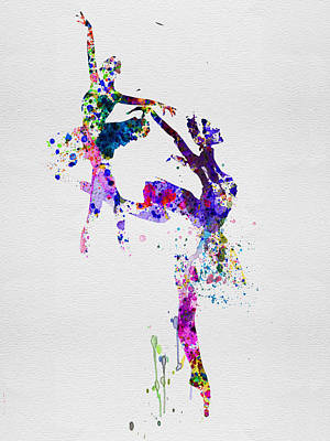 Legs Mixed Media - Two Ballerinas Dance Watercolor by Naxart Studio