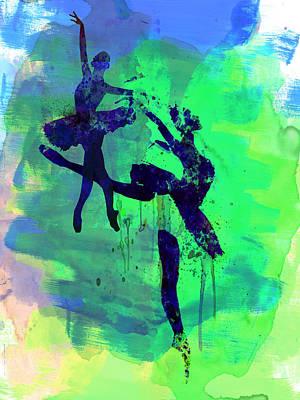 Ballet Dancers Mixed Media - Two Ballerinas Watercolor 2 by Naxart Studio