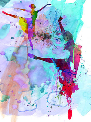 Girls Mixed Media - Two Ballerinas Watercolor 4 by Naxart Studio