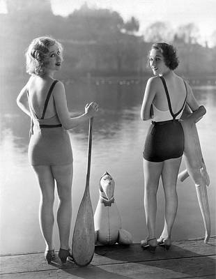 Photograph - Two Bathing Beauties by Underwood Archives