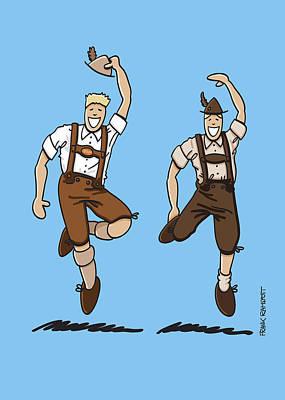 Vector Digital Art - Two Bavarian Lederhosen Men by Frank Ramspott