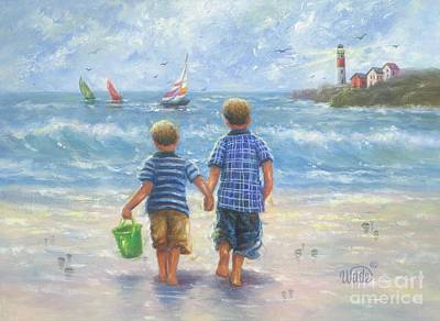 Two Little Boys Painting - Two Beach Boys Walking by Vickie Wade