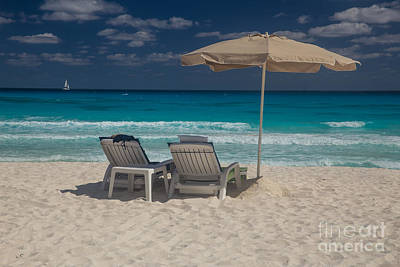 Cancun Photograph - Two Beach Chairs On A White Sand Beach With Umbrella And Turquoi by Bridget Calip