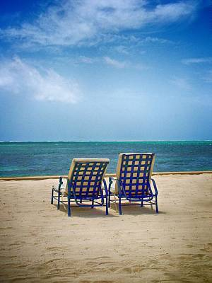 Photograph - Two Beach Lounge Chairs by Kristina Deane