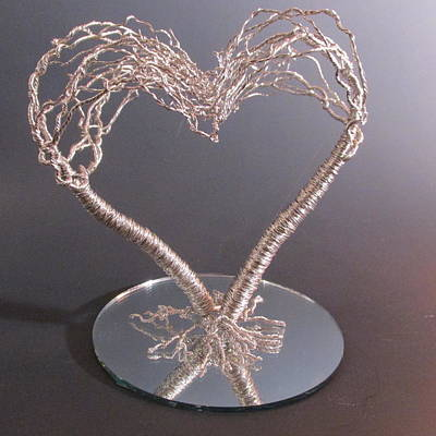 Metal Tree Sculpture - Two Become One Flesh Wire Tree Wedding Cake Topper Sculpture by Ken Phillips