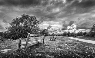 Photograph - Two Benches And A Storm by Gary Gillette