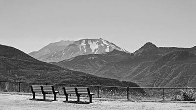 Photograph - Two Benches At Mount St. Helens Bw by Connie Fox