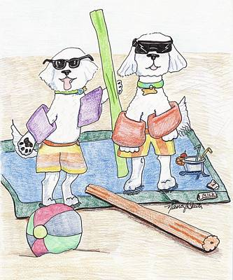 Bichon Frise Drawing - Two Bichons At The Beach by Nancy Suiter