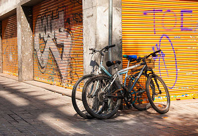 Barcelona Photograph - Two Bicycles In The Streets Of Barcelona by Matthias Hauser