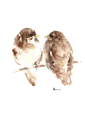 Sparrow Mixed Media - Two Birdies Painting Watercolor Art Print by Joanna Szmerdt