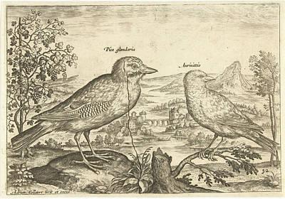 Finch Drawing - Two Birds In A Landscape, Adriaen Collaert by Adriaen Collaert