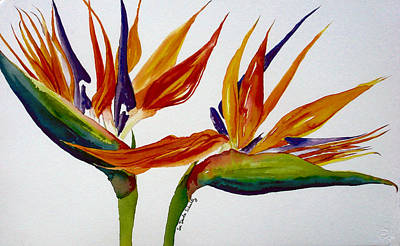 Strelitzia Painting - Two Birds Of Paradise by Susan Duda