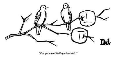 Twig Drawing - Two Birds Perch On A Branch That Has Marshmallows by Drew Dernavich