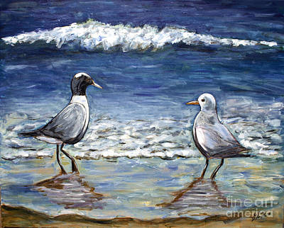 Art Print featuring the painting Two Birds With Foam by Jeanne Forsythe