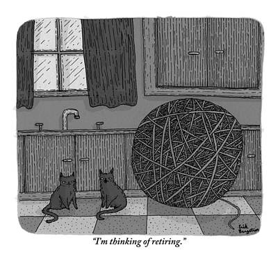 Halloween Drawing - Two Black Cats In A Kitchen Beside A Huge Ball by Erik Bergstrom