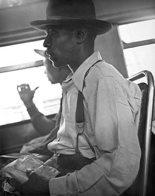 Side View Photograph - Two Black Men On A Bus by Underwood Archives