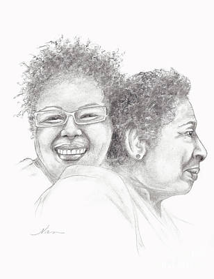 Drawing - Two Black Women by Nan Wright