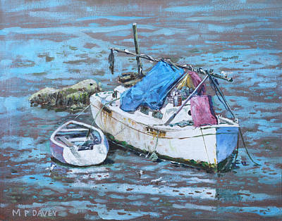 Painting - Two Boat Wrecks At Low Tide by Martin Davey