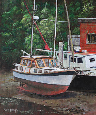 Painting - Two Boats On Eling Mudflats by Martin Davey