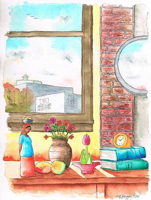 Dibujos Painting - Two Books Near A Window by Carlos G Groppa