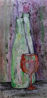 Painting - Two Bottles And A Red Glass by Catherine Howley