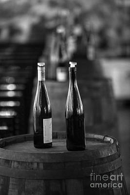 Wine Cellar Photograph - Two Bottles Of Wine Black And White by Iris Richardson