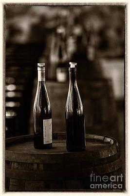 Wine Cellar Photograph - Two Bottles Of Wine Sepia by Iris Richardson