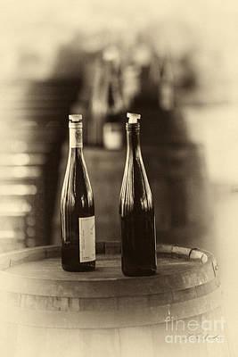 Wine Cellar Photograph - Two Bottles Of Wine Vinette by Iris Richardson