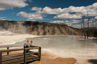 Mammoth Hot Springs Photograph - Two Boys Admiring Canary Springs by Howie Garber