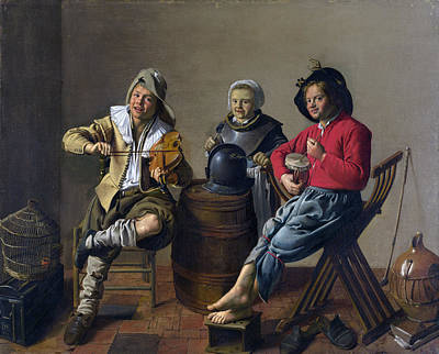 Jan Miense Molenaer Painting - Two Boys And A Girl Making Music by Jan Miense Molenaer