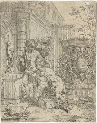 Burning Statue Drawing - Two Boys At Statuette Of Venus, Lodewijk De Deyster by Lodewijk De Deyster