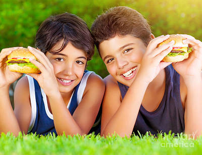 Two Boys Eating Burgers Art Print by Anna Om