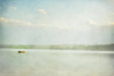 Two Boys In A Fishing Boat In Cow Lake Art Print by Roberta Murray