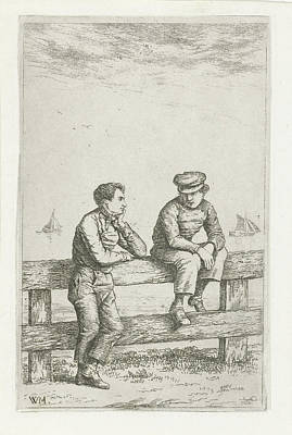 Fence Drawing - Two Boys On A Fence, Christiaan Wilhelmus Moorrees by Christiaan Wilhelmus Moorrees