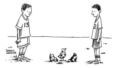 Surrealism Drawing - Two Boys On A Soccer Team Look Down At The Ground by Shannon Wheeler