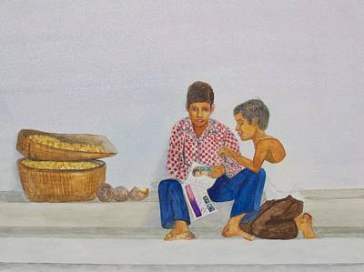 Painting - Two Boys Reading by Patricia Beebe