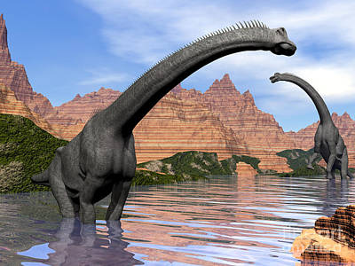 Three Rivers Digital Art - Two Brachiosaurus Dinosaurs In Water by Elena Duvernay