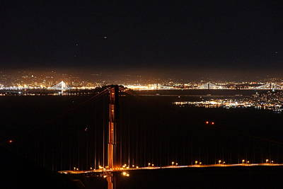Photograph - Two Bridges At Night by Michael Courtney