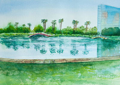 Painting - Two Bridges At Rainbow Lagoon by Debbie Lewis