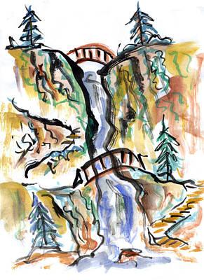 Fukinsei Painting - Two Bridges by Ellen Miffitt