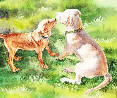 Sniffing Painting - Two Brothers Labradors by Irina Sztukowski