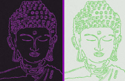 Digital Art - Two Buddhas by Christine Perry