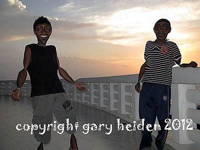 Two Buddies Enjoying The Sunset On The Peace Dagoba Original by Gary Heiden