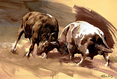 Horoscope Painting - Two Bulls by Dragan Petrovic Pavle
