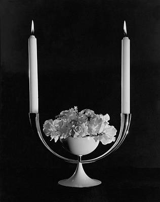 Photograph - Two Burning Candles And And Some Flowers by John Rawlings