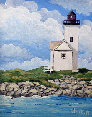 Maine Seacoast Painting - Two Bush Lighthouse Maine by Roger Clark Artist