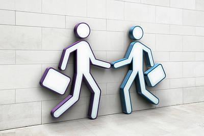 Two Businessmen Shaking Hands Art Print by Jorg Greuel