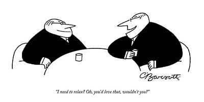 Boss Drawing - Two Businessmen Sit And Speak At A Table Digibuy by Charles Barsotti