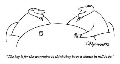 Drawing - Two Businessmen Speak To Each Other by Charles Barsotti