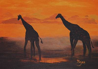 Raw Sienna Painting - Two By Two by Barbara Hayes
